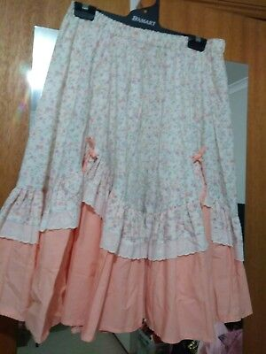 square dance skirt peach floral with bows