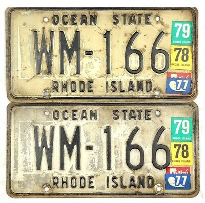 Rhode Island License Plate PAIR #WM-166 With Nice 1976-1979 Stickers No Reserve