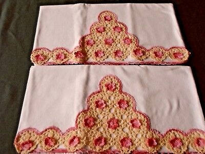 """VTG Pair Pillowcases Hand Crochet FLORAL PINK & YELLOW 17"""" x 33.5"""" ~ Excellent"""