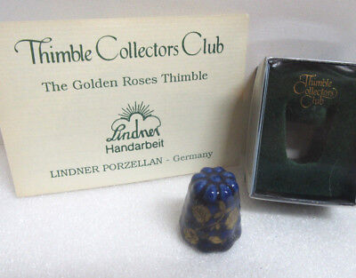 Thimble Collectors Club ~ THE GOLDEN ROSES THIMBLE ~ Lindner Germany