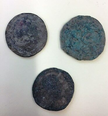 3 x Large Uncleaned Roman Bronze coins - As/Semis (Lot A1)