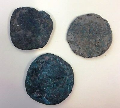 3 x Large Uncleaned Roman Bronze coins - As/Semis (Lot A2)