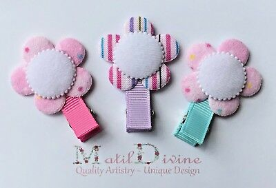 Baby Girl Toddler Non Slip Hair Clip Bow  4.5cm Alligator Clip X 3 Cotton Candy