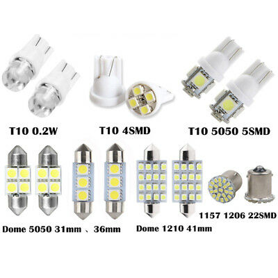 14Pcs White LED Lights Interior T10 1157 31mm 36mm 41mm Map Dome License Plate