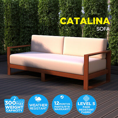 Timber Outdoor Sofa Bed Sunbed Cushion Lounge Bench Dining Set Garden Furniture