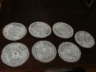 Lot of 6 Antique Normandy Lace Embroidery Doilies