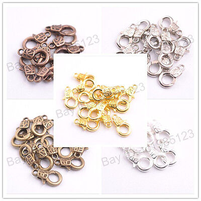 10Pcs Gold Silver Plated Bronze Copper Charms Lobster Clasps & Hooks 17x10MM