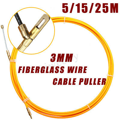 25/15/5M Fiberglass Sleeving Push Puller Wire Cable Snake Rodder Tongue 3MM