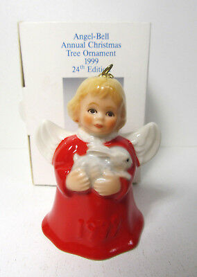 Hummel Goebel 1999 Red Angel Holding Rabbit Bunny Ornament Bell