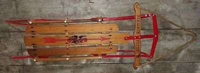 """Vintage Flexible Flyer III 3 Snow Sled Wood Red Metal Christmas Decoration 48"""""""