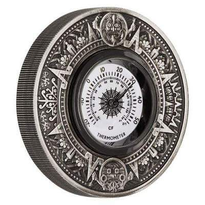 2018 Tuvalu $2 Thermometer 2oz Silver Antiqued Coin