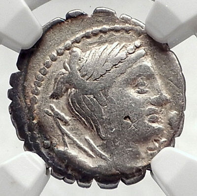 Roman Republic Ancient 79BC Silver Coin DIANA & VICTORY CHARIOT NGC i72785