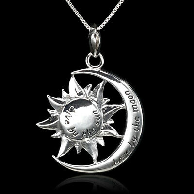 Sun Crescent Moon Celestial Necklace NEW 925 Sterling Silver Pendant Charm Gift
