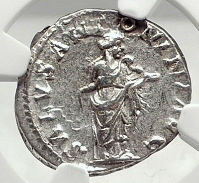 ELAGABALUS Authentic Ancient 219AD Silver Roman Coin SALUS w SERPENT NGC i72787