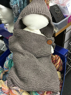 Knitted  Baby Cocoon kit with  yarn, pattern and buttons