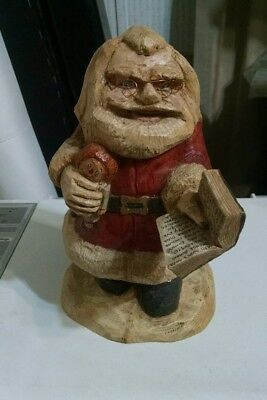 """Hand Carved Santa Wood Christmas Figure Signed -1987 Kevin Wolff 8 1/2"""" tall"""