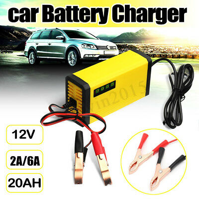 12V Car Battery Charger 2A/6A 220V Input 20AH Smart LED Yellow for Motorcycle