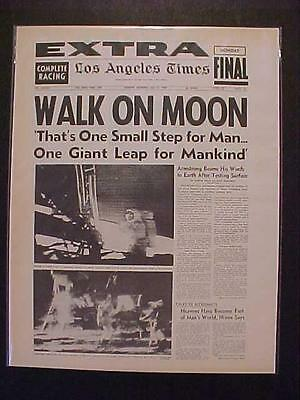 Vintage Newspaper Headline ~Nasa Space Man Armstrong Men Walk Land Moon Landing~
