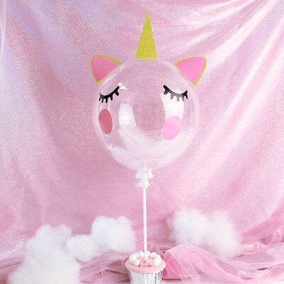 Transparent Unicorn Feather Balloon Collection Cake Topper for Party Decoration