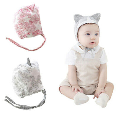 Infant Baby Star Print Cute Ear Designed Hat Infant Lace-up Ear Warmer Headwrap