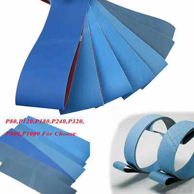 UK 3/5pcs 80-1000 Grit Blue File Sanding Belts 100 x 915mm - Aluminium Oxide