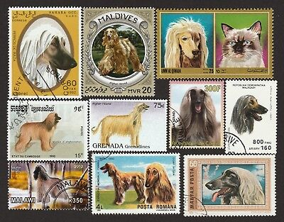 ON SALE!!  AFGHAN HOUND ** Int'l Dog Postage Stamp Collection ** Unique Gift*