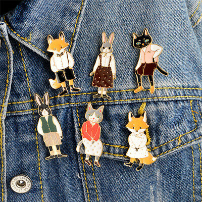 Émail chat renard broche épingle animal chemise collier pin badge corsagebijoux