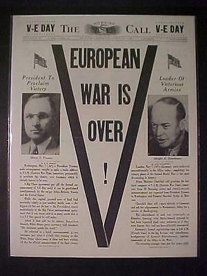 Vintage Newspaper Headline~World War 2  Eisenhower Truman Victory Nazi Wwii Over