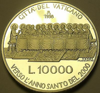 Rare Silver Proof Vatican 1998 10,000 Lire~The Last Supper~30,000 Minted~Free Sh