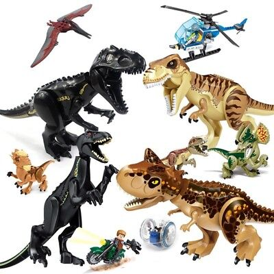 Large Indominus Rex Jurassic World Dinosaur Figure Blocks Raptor Toys For Kids