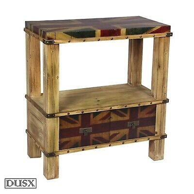 Vintage Retro Regal Union Jack Boys Room Two Drawer Console Table with Shelf