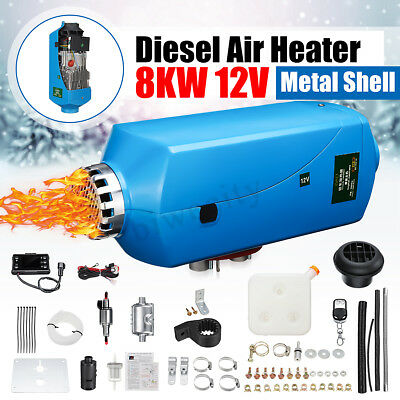 5KW 12V Diesel Air Heater LCD Remote Control+Silencer For Truck Boat Car Trailer