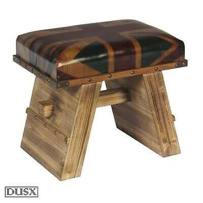 Union Jack Vintage Retro British Wooden Bench Seat Stool with Rivet Details