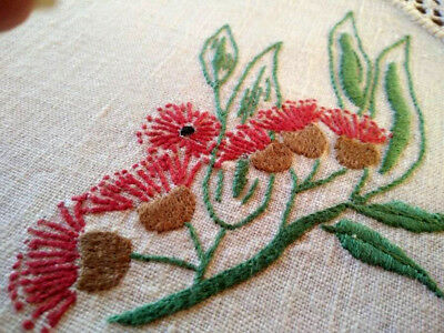 Red Flowering Gum Branch ~ Vintage Hand Embroidered Large Doily