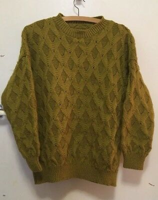 Mustard Colour Hand Knitted Wool Jumper Vintage /retro NOW ADDED MEASUREMENTS!!