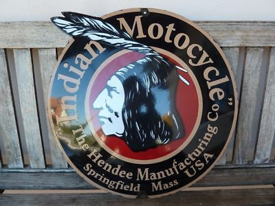 """old Indian , 22"""" porcelain sign convex collectible rar chief motorcycle dealer :"""