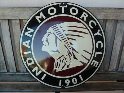 """old Indian , 20"""" porcelain sign convex collectible rar chief motorcycle dealer"""