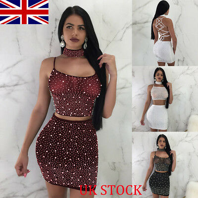 Women 2 Piece Bodycon Two Piece Crop Top and Skirt Set Lace Up Dress Party UK