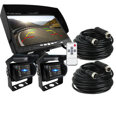 """7"""" Monitor +2 X Wired 4Pin Rear View Backup Camera Night Vision For RV Truck Bus"""