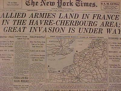 Vintage Newspaper Headline~World War 2 Nazi France Us D-Day Battle Invasion Wwii