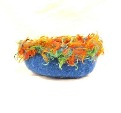 BOTSWANA TEAL BLUE FELTED WOOL BOWL WITH MULTI-COLOR FUZZY WOOL TRIM 5 1/2 x 2