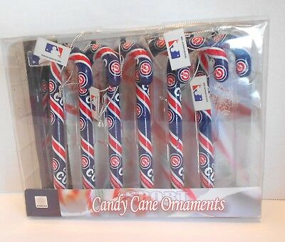 Forever Collectibles MLB CHICAGO CUBS Candy Cane Ornaments Set of 6