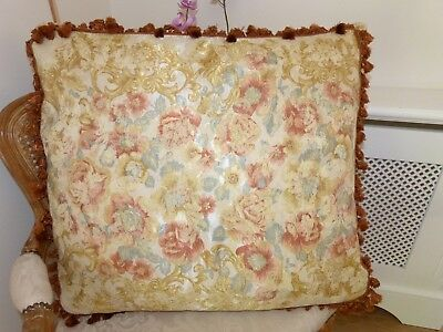 """MULBERRY HOME Silk/Cotton CUSHION French Rococo 28"""" Square FEATHER PAD"""