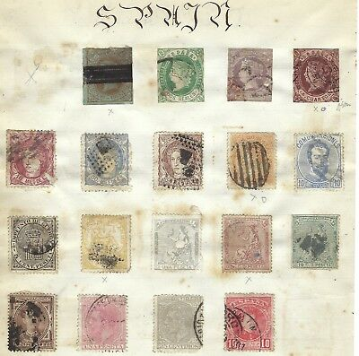 Early Stamps Of Spain Stuck On Album Page With Denmark Reverse See Scans