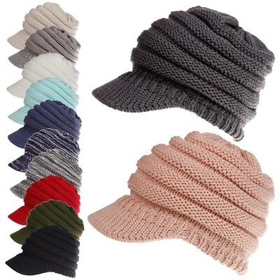US STOCK Womens Stretch Knit Hat Messy Bun Ponytail Beanie Winter Warm Hole Hat