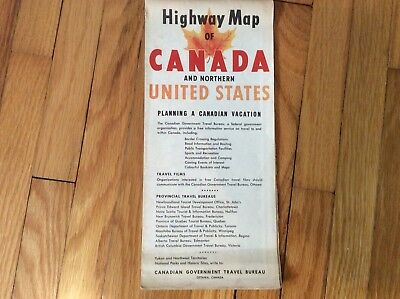1958 Highway Map of CANADA and NORTHERN UNITED STATES~Good Condition!