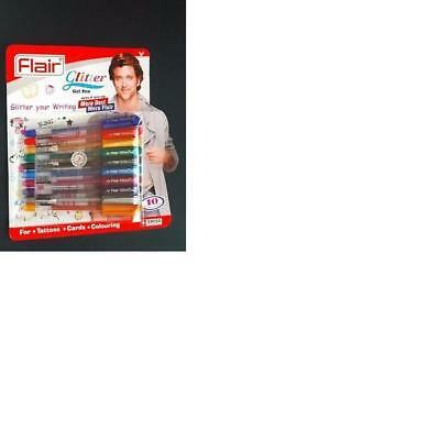 Extra Sparkle Glitter Gel By Flair Set Of 10 Color Pens Multipurpose Pens