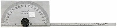 Kristeel Stainless Steel 180 Degree Round Cum Depth Gage Protractor