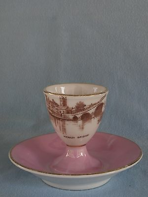 "Antiker Eierbecher egg cup KPM Carl Krister Souvenir ""Henley Bridge"" um 1890"