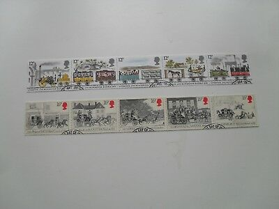 GB QE11 1980s RAILWAYS AND COACHES TWO  STAMP SETS IN UNBROKEN STRIPS BRITISH